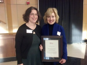Marchaesi-Ciaraldi receives the St. John Fisher College Adjunct Faculty Karyl Mammano Excellence in Service award.