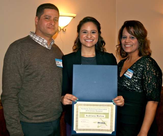 Audriana Molina posing with her parents at the 38th annual Student Media Scholars Awards reception.