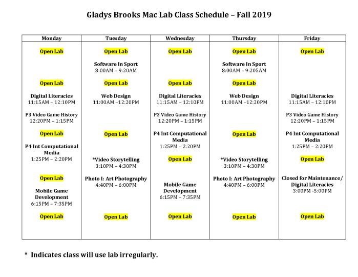 Mac Lab Schedule Fall '19v2